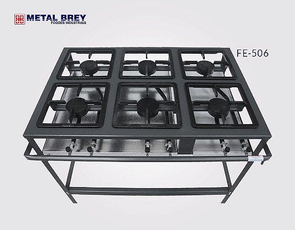 Fogão Industrial a Gás / 6 Bocas / Linha Econômica / Alta Pressão / Metal Brey