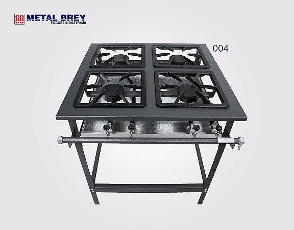 Fogão Industrial a Gás / 4 Bocas / Linha Stand / Alta Pressão / Metal Brey
