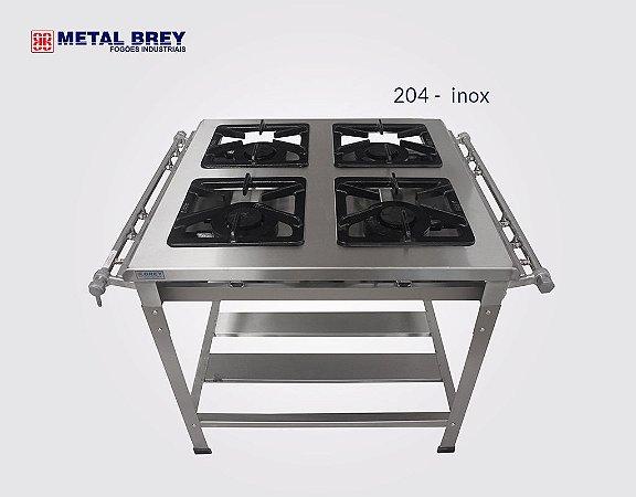 Fogão Industrial a Gás / 4 Bocas / Linha EXTRA INOX 304 / Baixa ou Alta Pressão / Metal Brey