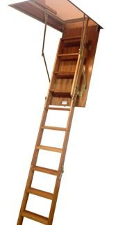 Escada para Sótão Madeira / Degraus Antiderrapantes / 58cm x 128cm ( PÉ DIREITO até 3,05m )