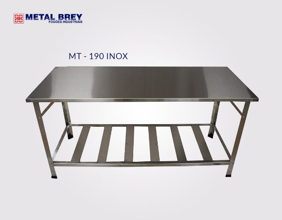 Mesa de Trabalho 1,90 m x 0,80 m ( MT 190 INOX ) ESTRUTURA AÇO INOX  Metal Brey