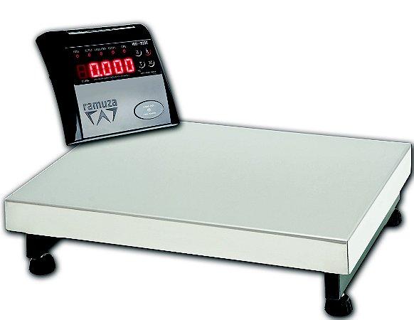 Balança Industrial DP 500 ( IDR 7500 ABS ) - Plataformas em Aço Carbono 60x60 - ( Cap. 500kg/100g ) Bandeja INOX 430 - Ramuza