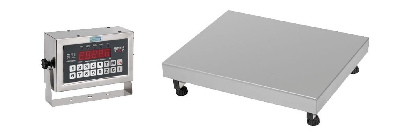 Balança Industrial DP 200/300 ( IDR 10000 ABS ) - TOTAL INOX 304 - Plat. 50x50 - ( Cap. 200kg/50g ou 300kg/100g ) - Ramuza