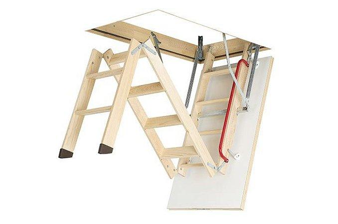 Escada para Sótão Madeira LWK Komfort FAKRO / 60cm x 120cm ( PÉ DIREITO até 2,80m )