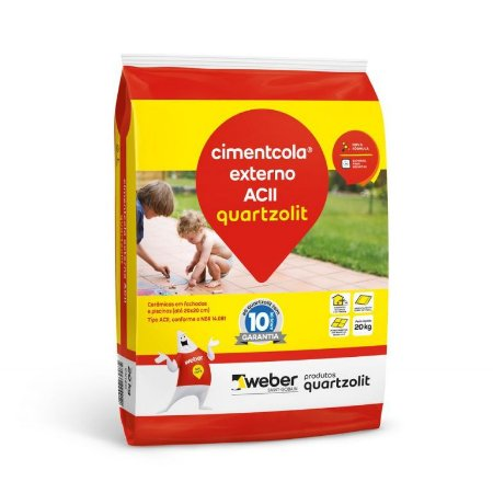 Argamassa Cimentcola Externo Cinza 20kg Tipo ACII AC2 Embalagem Papel - Quartzolit - 0003.00001.0020PA