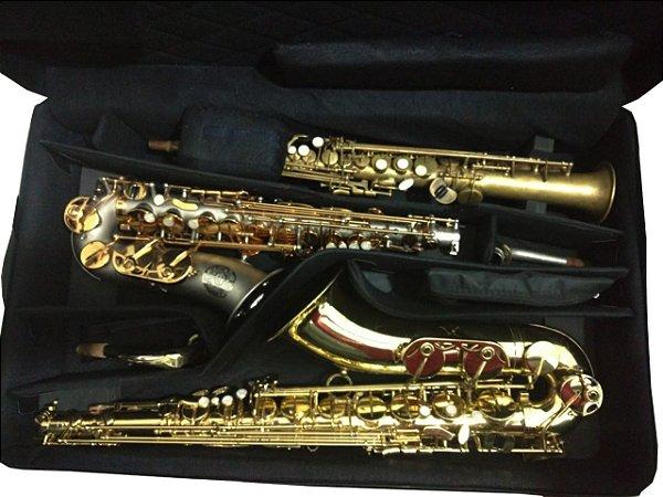 Estojo triplo sax alto + tenor + soprano(bols externa para estojo de flauta)
