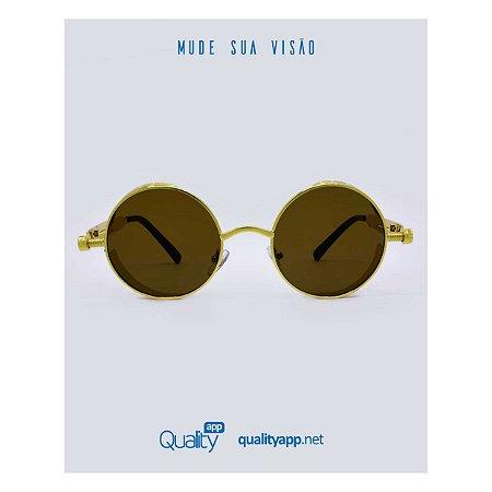 Óculos Vegas Marrom Com Dourado