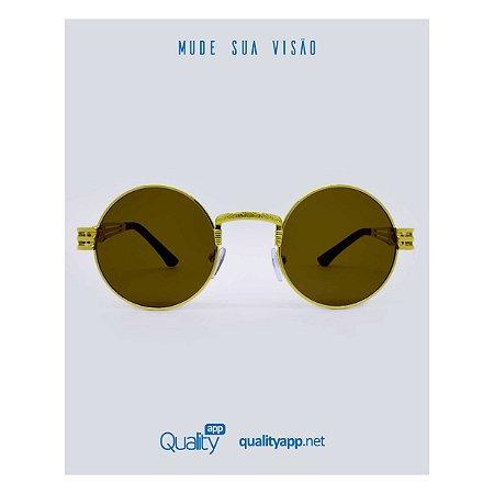 Óculos Drop Marrom com Dourado