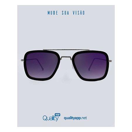 Óculos Executivo Azul com Prata Espelhado