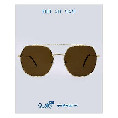 Óculos Link Marrom com Dourado