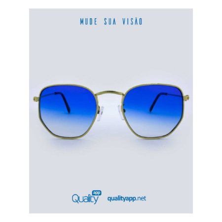 Óculos Detroit Azul e Dourado Degradê