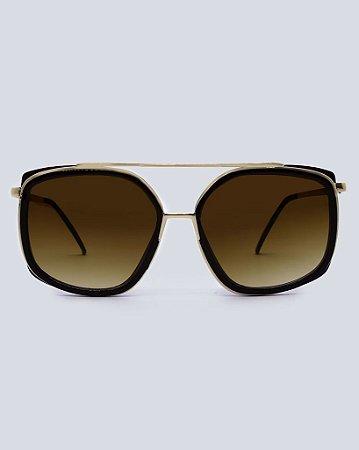 Óculos Zurique Marrom com Dourado