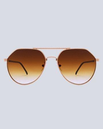 Óculos Aviador Mendozado Marrom com Doura