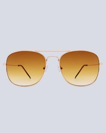 Óculos Aviador Cancún Marrom com Dourado