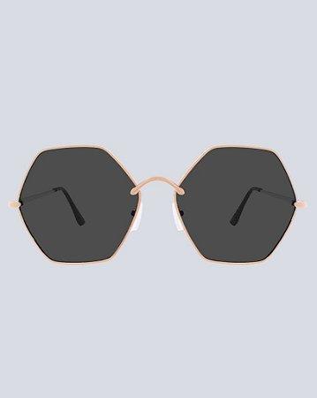 Óculos Hexa Preto com Dourado