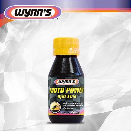 Aditivo especialmente formulado para limpar e restaurar a potência de motos 4 tempos - Wynn´s Spit Fire Moto Power 40 ml