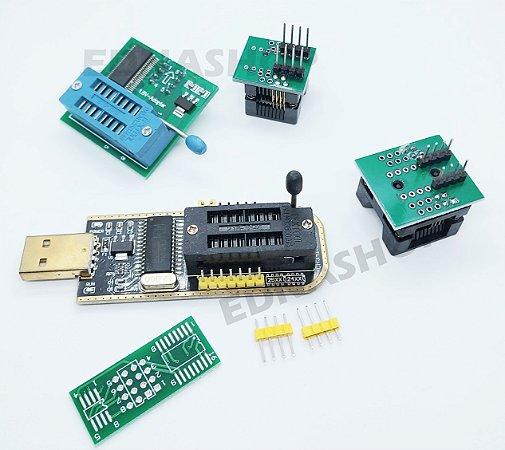 Kit gravador de bios CH341A com adaptadores smd + 1.8V
