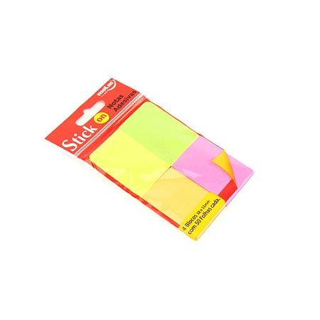 Kit Bloco de Notas Adesivas Cores Sortidas com 4 Blocos