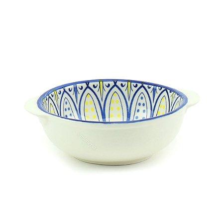 Bowl de Cerâmica Redondo com Alça Estampado Arabesco Flor