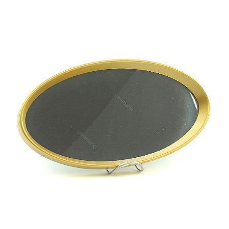 Bandeja Oval com Espelho Dourada