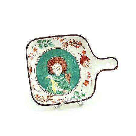 Petisqueira de Cerâmica Estampada a Menina, o Ganso e o Gato
