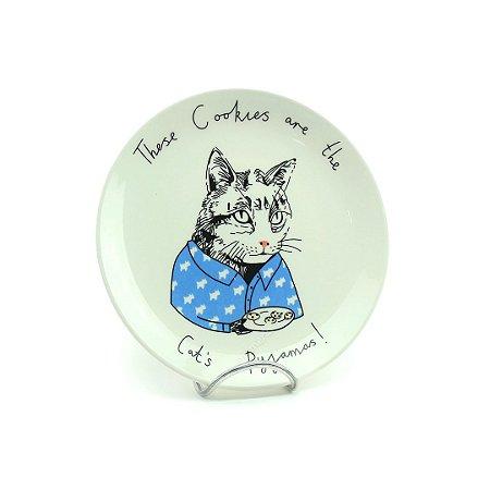 Prato em Cerâmica Snack Gato de Pijama