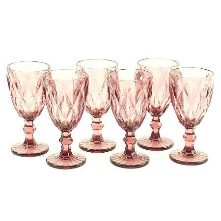 Conjunto de 6 Taças de Vidro para Bebidas Diamond Lilás