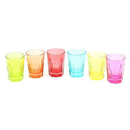 Conjunto de 6 Copos de Vidro Faces Colors