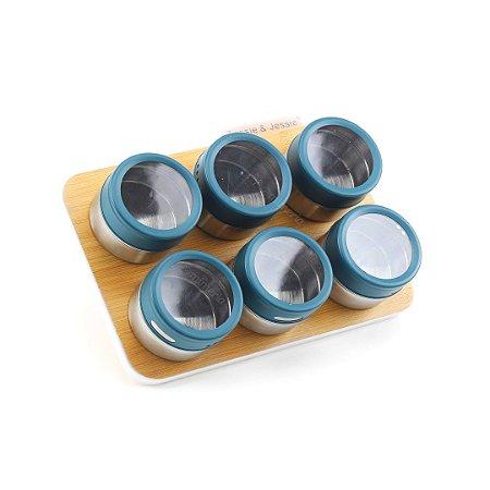 Porta Condimentos em Inox com Suporte Magnético 7 Peças Azul