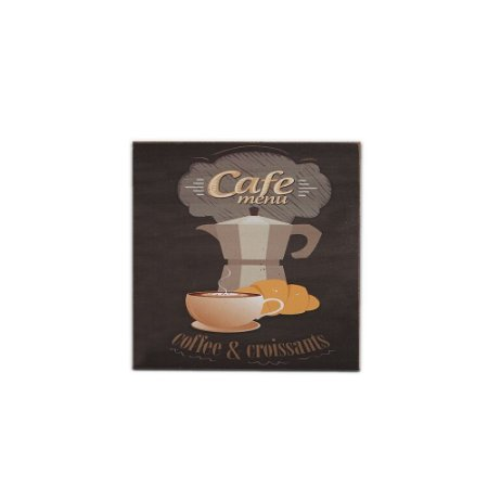 Placa Decorativa de Madeira Coffee e Croissants 20x20