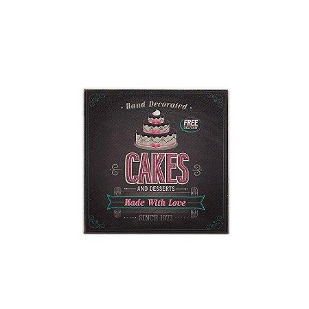 Placa Decorativa de Madeira Cakes and Desserts 20x20