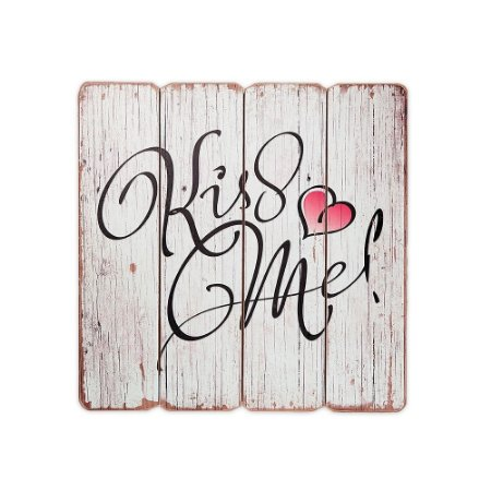 Placa Decorativa de Madeira Kiss Me 40x40