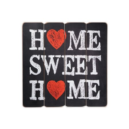 Placa Decorativa de Madeira Home Sweet Home 40x40