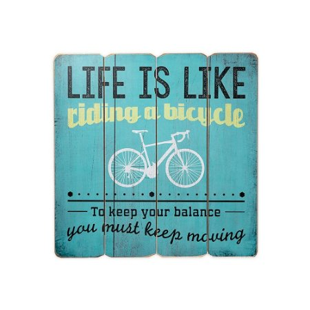 Placa Decorativa de Madeira Life is Like Riding a Bike Azul 40x40