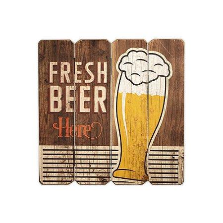 Placa Decorativa de Madeira Fresh Beer 40x40