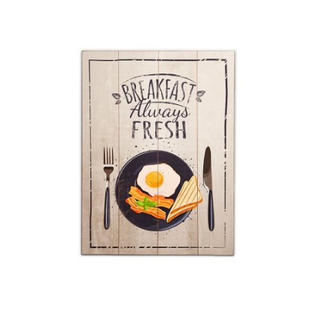 Placa Decorativa de Madeira Breakfast 30x40