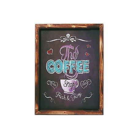 Placa Decorativa de Madeira Lousa the Coffee 30x40