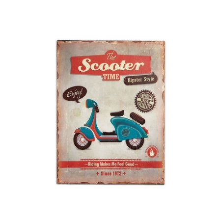 Placa Decorativa de Metal The Scooter Time 30x40