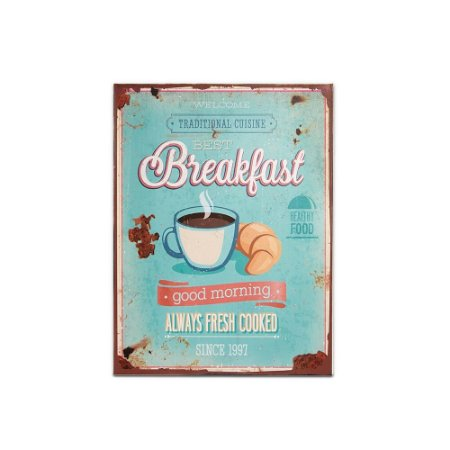 Placa Decorativa de Metal Breakfast Azul 30x40