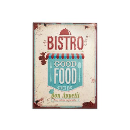Placa Decorativa de Metal Bistrô Good Food 30x40
