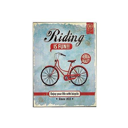 Placa Decorativa de Metal Riding is Fun Azul 30x40