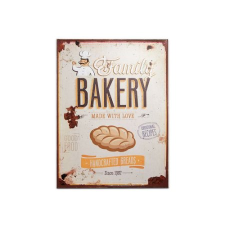 Placa Decorativa de Metal Family Bakery 30x40