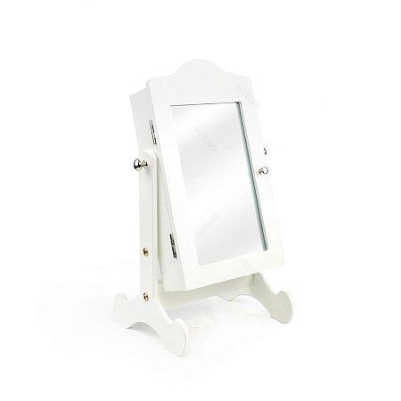 Espelho de Mesa Porta Joias Branco