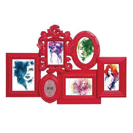 Porta Retrato Vermelho Vintage Arabescos - 6 Fotos