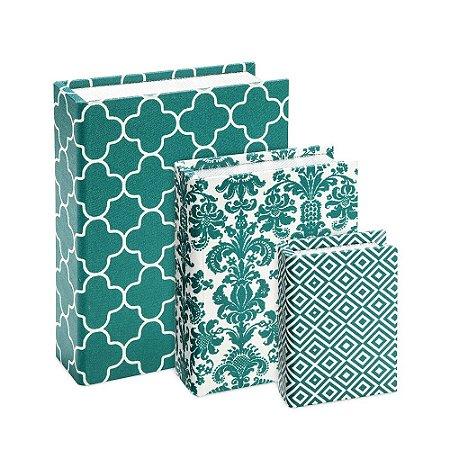 Conjunto 3 Livros Caixa Estampados Verde