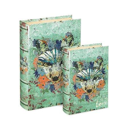 Conjunto 2 Livros Caixa Decorativos Raposa