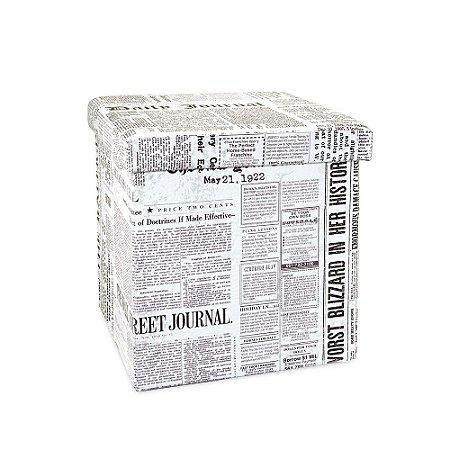 Puff Dobrável Organizador Estampado Jornal