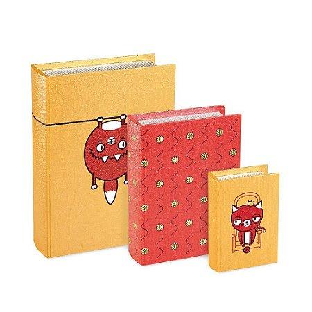 Conjunto 3 Livros Caixa Estampados Gato