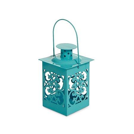 Mini Lanterna Marroquina Turquesa Arabescos