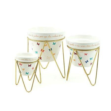 Trio Vasos de Porcelana e Ferro Borboleta